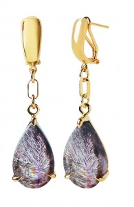 Basalt Earrings - 18k Yellow Gold 1-Micron .925 Silver and Bronze Rutilated Quartz Earrings