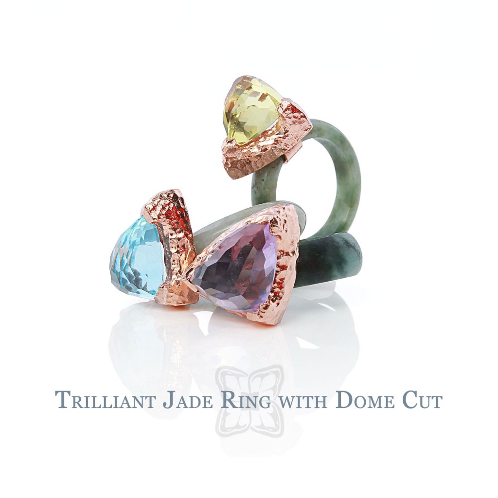 Trilliant Jade Rings with Dome Cut